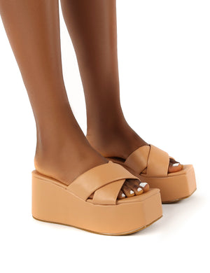 Elevate Nude PU Flatform Sole Cross Strap Sandals