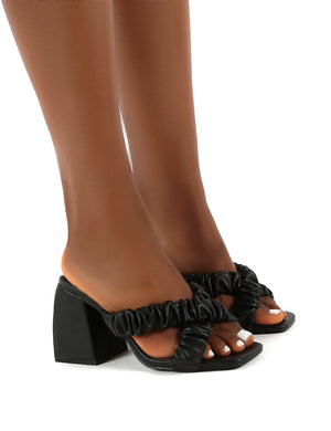 Elsa Wide Fit Black PU Ruched Block Heeled Mules