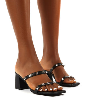 Forever Black Square Toe Studded Strap PU Block Heel Mule Sandals