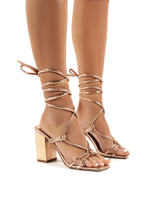 Lois Rose Gold Strappy Lace Up Block Heel