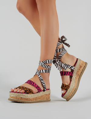 Presca Lace Up Sandals in Mixed Animal Print