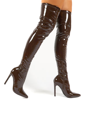 Confidence Chocolate Patent Stiletto Heeled Over The Knee PU Boots