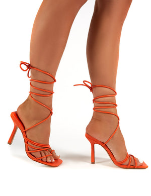 Haute Orange Square Toe Strappy Lace Up Heels