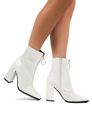 Payback White Croc Zip Ankle Boot