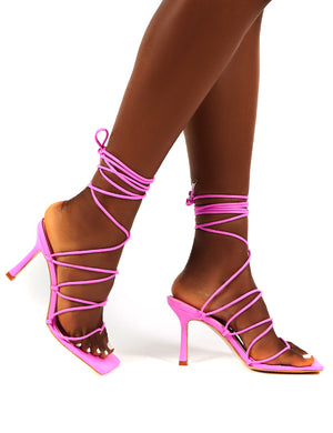 Toronto Lilac Square Toe Wrap Around Lace Up Ankle Heels
