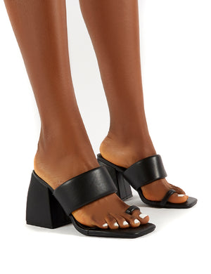 Caden Black Toe Post Block Heel Sandal Heeled Mules