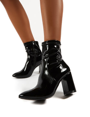 Raya Pointed Toe Ankle Boots in Black Patent