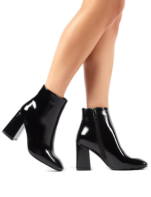 Aimee Black Crinkle Patent Square Toe Block Heeled Ankle Boots