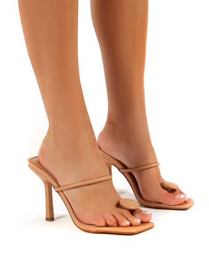 Kai Nude Toe Post Square Toe Mule Heels