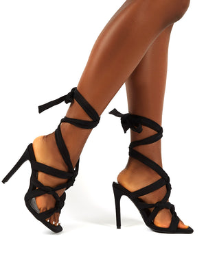 Convo Black Neoprene Knotted Lace Up Stiletto High Heels