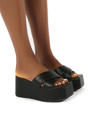 Elevate Black PU Flatform Sole Cross Strap Sandals