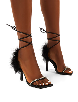 Fifi Black Feather Lace Up Ankle Square Toe Stiletto Heels