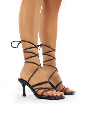 Cabo Black Strappy Lace Up Square Toe Kitten Heels