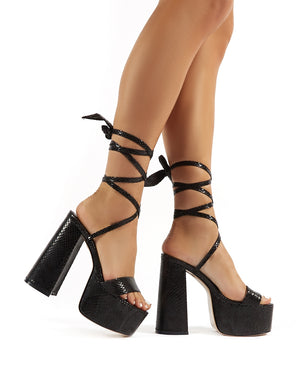 Brave Black Snakeskin Suede Platform Lace Up Block High Heels