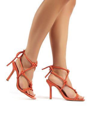 Luna Orange Strappy Knotted Stiletto High Heels