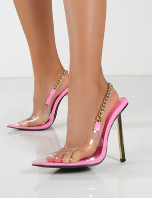 Blair Pink Chain Detail Sling Back Stiletto Heels