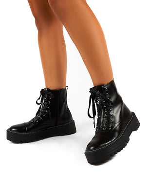 Blake Black PU Lace Up Chunky Sole Ankle Boots