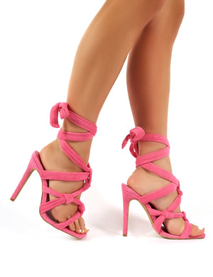 Convo Pink Towelling Knotted Lace Up Stiletto High Heels