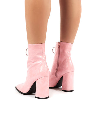 Payback Pink Croc Zip Ankle Boot