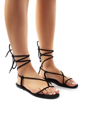 Miley Black Lace Up Flat Sandals