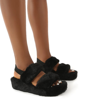 Dawn Black Strap Back Faux Fur Fluffy Slippers