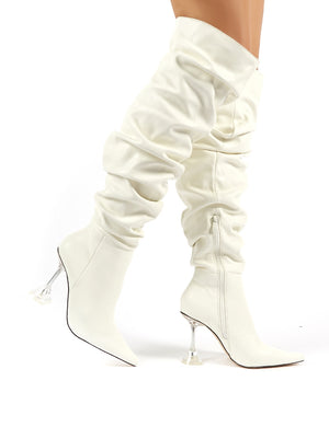 Adalee White PU Statement Heeled Slouch Over the Knee Boots