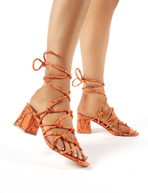 Freya Orange Snakeskin Strappy Block Heeled Sandals