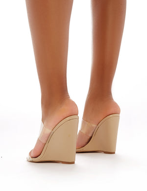 Lena Wedge Heeled Perspex Mules in Nude