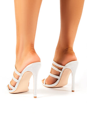 Confess White Snakeskin Strappy Stiletto Heeled Mules