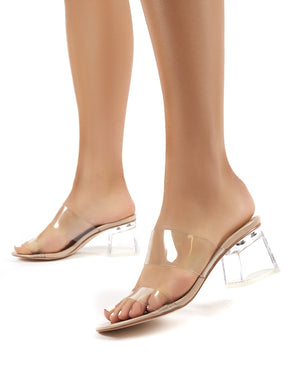 Aries Nude Perspex Barely There Block Heeled Mules