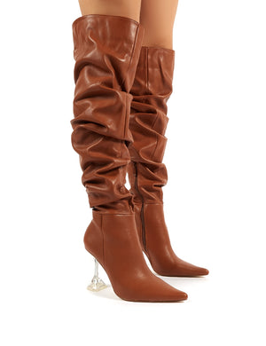 Adalee Tan PU Statement Heeled Slouch Over the Knee Boots