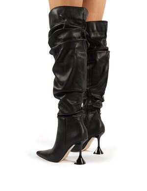 Adalee Black PU Statement Heeled Slouch Over the Knee Boots