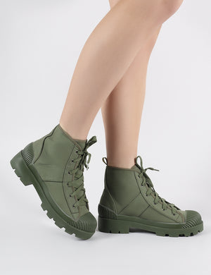 Greenland Ankle Boots in Khaki Canvas