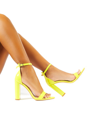 Miao Lime Patent Pointed Barely There Heels