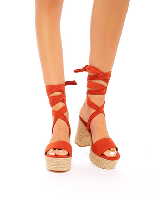 Layla Rust Faux Suede Espadrille Lace Up Block Heels
