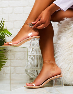 Afternoon Perspex Block Heels in Nude Patent