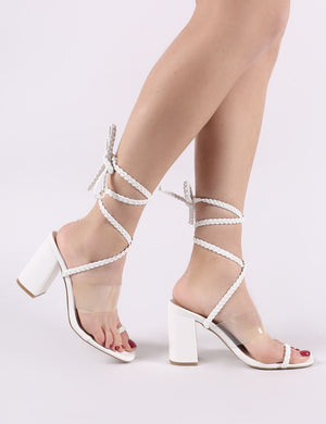 Mia Lace Up Block Heeled Sandals in White PU