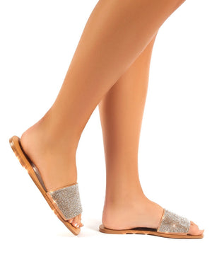 Ally Diamante Flat Slider Sandals