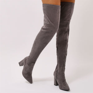 Rapture Over the Knee Boots in Grey Faux Suede