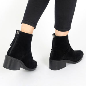 Isabella Ankle Boots in Black Faux Suede