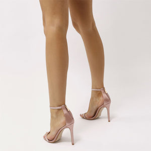 Mafia T-bar Diamante Embellished Stiletto Heels in Blush Satin