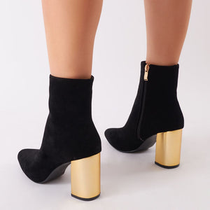 Zodiac Statement Block Heel Ankle Boots In Black Faux Suede