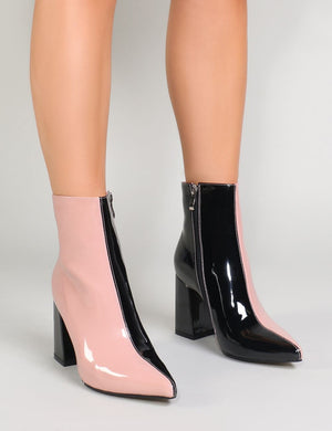 Chaos Two-Tone Pointed Toe Ankle Boots in Black and Pink Patent
