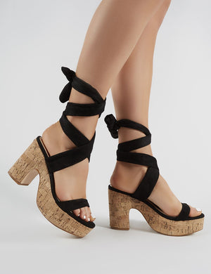 Naive Cork Platform Block Heels in Black Faux Suede