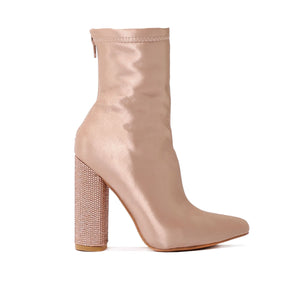 Chica Diamante Heel Sock Fit Ankle Boots in Rose Gold Satin
