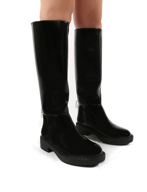 Alias Black Smooth PU Lock Detail Riding Boots