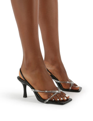 Annika Black Croc Diamante Wide Fit Square Toe Strappy Heels