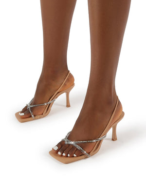 Annika Nude PU Diamante Wide Fit Square Toe Strappy Heels