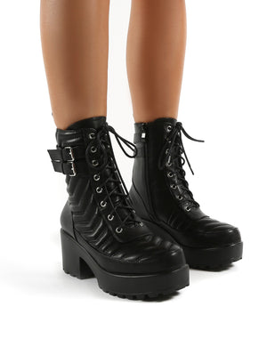 Carbon Black Lace Up Platorm Sole Block Heeled Ankle Boots