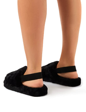 Dreamtime Black Fluffy Strap Back Slippers